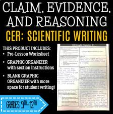 Scientific Writing Cer Graphic Organizer With Scientific Writing Pre Lesson And Peer Review Sheets