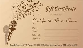 Guitar Lesson Gift Certificate Template Music Gift Certificate Template Under Fontanacountryinn Com