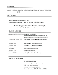 Medical Technology Example Medical Laboratory Technician Resume Sample Lab Example Entry