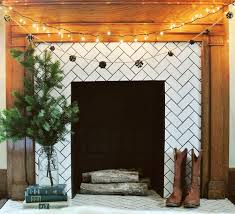 subway tile fireplace surround and mantel diy for pinecone garland farm fresh therapy