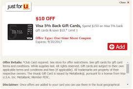 acme visa five back gift card deal