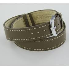 taupe double wrap leather watch strap for las