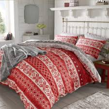 christmas nordic duvet cover thermal  brushed cotton xmas