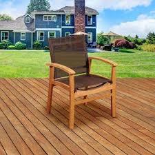 teak patio set. Elliot Teak Patio Dining Armchair With Brown Textile Sling Set