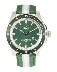 lacoste 2010736 silver tone green watch in green for men lyst gallery