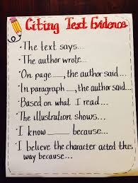 Citing Evidence From Text Anchor Chart For Common Core 4th