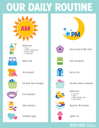 Toddler Routine Chart Printable Daily Routine Chart Kid To Kid