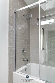 Light Greige Bathroom Warm Gray Greige Subway Tile Surround Light Gray