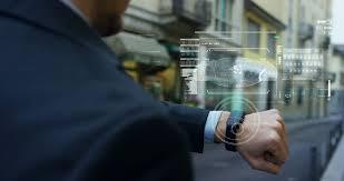 Futuristic Clock A Man At The Phone Appears In Hologram Futuristic Clock And