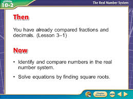 real number system solve equations by finding presentation transcript 1 then now