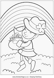 Small Picture Leprechaun with Pot of Gold Colouring Page