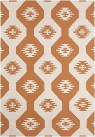 white and orange rug collection flat weaved reversible wool cotton rug in white orange design by