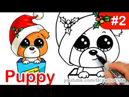 Small Picture How to draw Puppy Christmas Present step by step Easy Holiday
