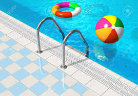 beach ball in pool. Blue Swimming Pool With Beach Ball And Lifesaver Stock Photo - 12231846 In S