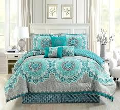 grey medallion bedding 7 piece teal turquoise grey white medallion print pattern elegant comforter set gray and white medallion bedding