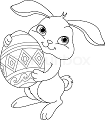 easter bunny coloring pages. Wonderful Coloring Illustration Of Happy Easter Bunny Carrying Egg Coloring Page  Stock  Vector Colourbox To Bunny Pages E