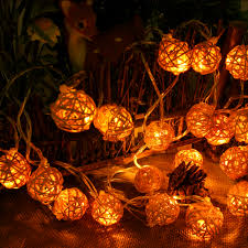 outdoor lighting balls. 5M 20 LED Warm White Rattan Ball String Lighting Holiday Christmas Wedding Party Curtain Decoration Outdoor Balls M
