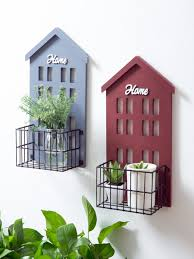 Creative Design House 1pc Living Room Wall Rack Small House Shape Creative Design Plant Holder Decoration