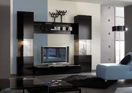 Furniture:Amazing Living Room Design With Black Living Room Wall Furniture  And Relaxing White Bed
