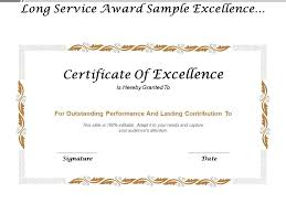 Sample Awards Certificate Long Service Award Sample Excellence Certificate Templates