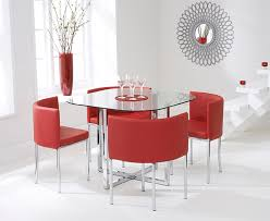 Red dining table set Coaster 101683 Oak Furniture Superstore Algarve Glass Stowaway Dining Table With Red High Back Stools