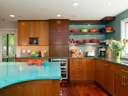 Lovely Design Of The Mid Century Modern Kitchen With Brown Wooden Cabinets  And Blue Marble Top