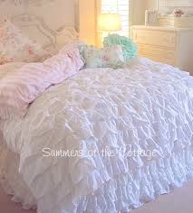 queen or king beach cottage chic dreamy white ruffles duvet comforter cover set from 229 95