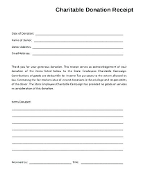 charitable contribution receipt letter donation slip sample donation receipt template practical in kind