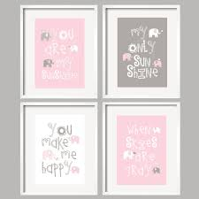 popular items for girls nursery ideas on etsy elephant art you are my sunshine pink grey  on cute nursery wall art with baby nursery sweet girls room ideas with tree wall art decal cute