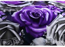 awesome purple bedding of purple and monochrome roses print polyester 3d bedding sets image purple rose