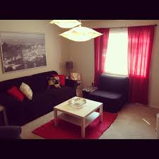 Black living room curtains Window Curtains Living Room Curtain Ideas In Red Theme With Black Metal Heading And Long Rod Pocket Heading Type Made Of Lace With Red Strip Motif Architecture And Interior Design Modern Architecture Center Living Room Living Room Curtain Ideas In Red Theme With Black Metal