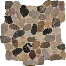 msi mix river rock 12 in x 12 in x 10mm tumbled marble mesh