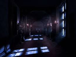 first of all here s one heck of a creepy hallway from the game the one from the trailer with all the animated suits of armour got to love those lighting