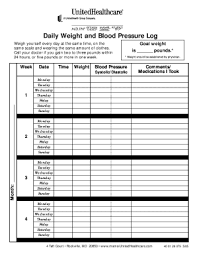 blood pressure and weight log fillable online daily weight and blood pressure log onenet ppo fax