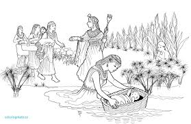 Bible Coloring Pages For Kids Moses With Baby Moses Coloring Pages