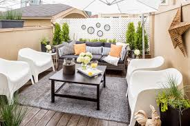 furniture for small patio. Furniture : Small Patio Design With White Modern Chairs And Square Black Coffee Table On Grey Rug Plus Brown Wicker Sofa Cushions Outdoor For Y