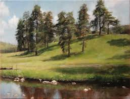 fine art mountain hillside original landscape oil painting on canvas by artist darko topalski