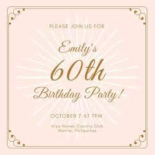 60th Birthday Celebration Invites Maroon Party Invitations Free