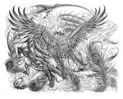 эскизы тату феникс