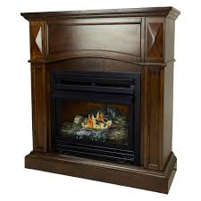pleasant hearth 20 000 btu 36 in compact convertible ventless propane gas fireplace in cherry vff ph20lp c2 the home depot