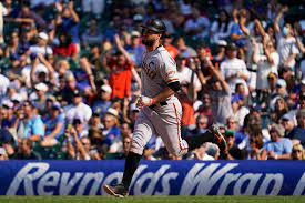 SF Giants' Brandon Belt wore a taped ...