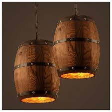 <b>American</b>-style Creative Wooden Barrel Pendant Lamps Wooden ...