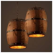 <b>American</b>-style <b>Creative</b> Wooden Barrel Pendant Lamps Wooden ...