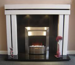 white mantel black surround stainless or nickel fireplace insert