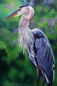 great blue heron original acrylic painting on canvas by eden bachelder