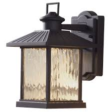 black outdoor integrated led wall mount lantern with photocell