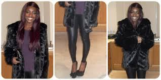 faux fur coat c o daisy street wet look leggings miss selfridge black clutch new look purple peplum top new look black bow heels primark