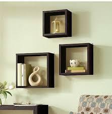 ... Floating Box Shelves Wall Large Square Dark Brown Stayed Rack Varnished  Furniture Antique Design Wide Space ...