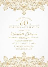 Golden Lace 60th Birthday Invitations Elegant Luxury