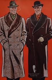 ulster inspired overcoats with fur shawl collars for men paired with silk scarves from 1937